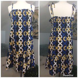 J CREW Chain Link Dress Blue Yellow White Black